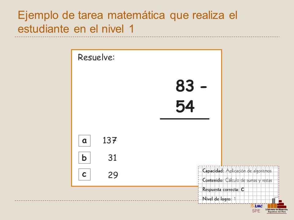 Ejemplo de tarea matemática que realiza el estudiante en el nivel 1
