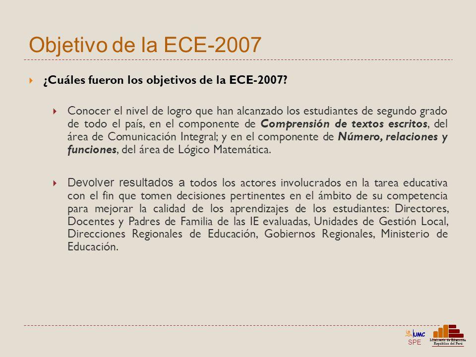 Objetivo de la ECE-2007 ¿Cuáles fueron los objetivos de la ECE-2007