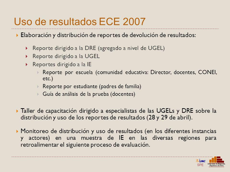 Uso de resultados ECE 2007 Elaboración y distribución de reportes de devolución de resultados: Reporte dirigido a la DRE (agregado a nivel de UGEL)