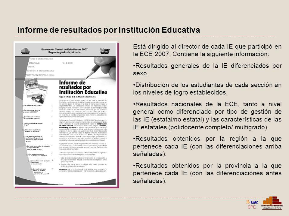 Informe de resultados por Institución Educativa