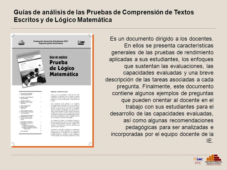 Guías de análisis de las Pruebas de Comprensión de Textos Escritos y de Lógico Matemática