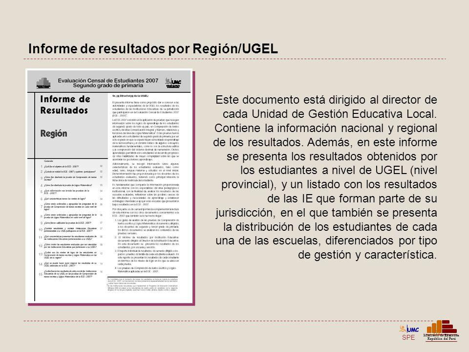 Informe de resultados por Región/UGEL
