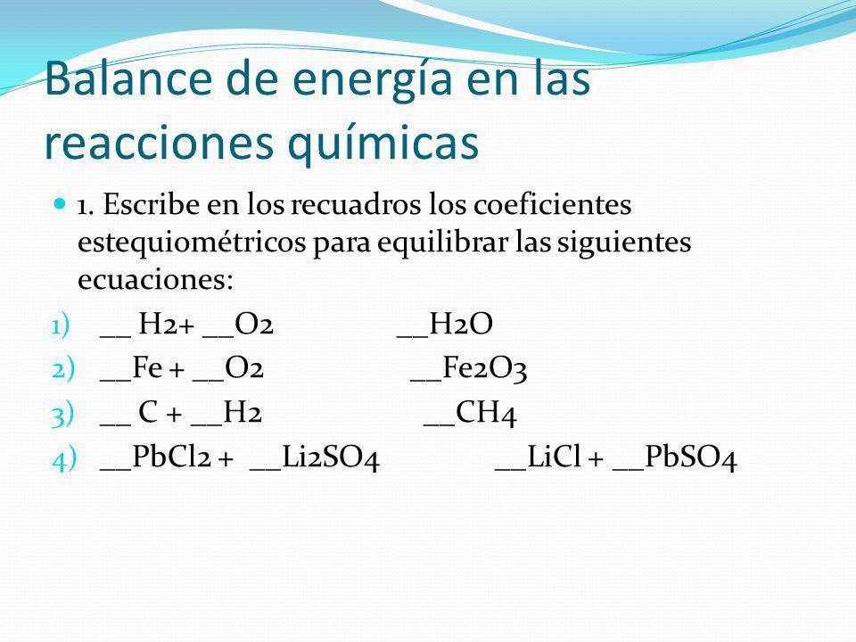 Balance de energía en las reacciones químicas