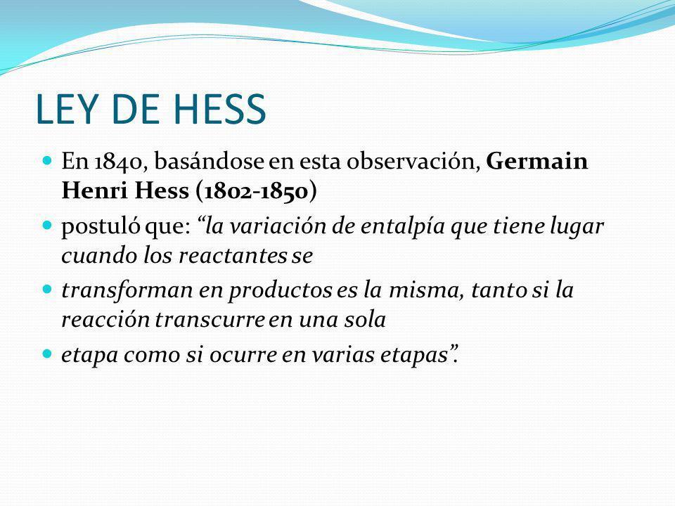 LEY DE HESS En 1840, basándose en esta observación, Germain Henri Hess (1802-1850)