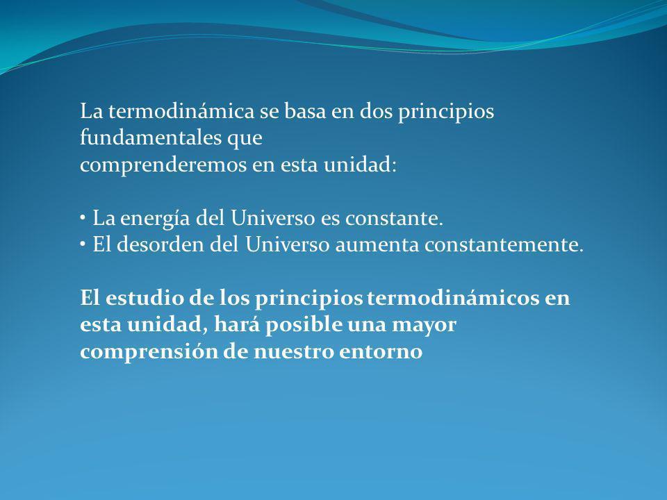 La termodinámica se basa en dos principios fundamentales que