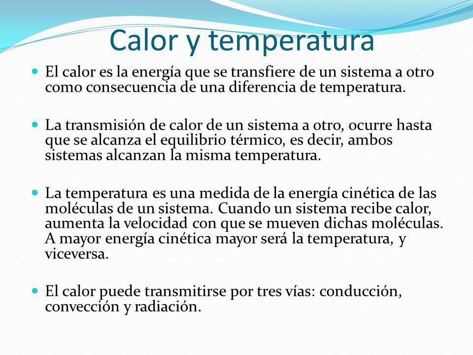 Calor y temperatura El calor es la energía que se transfiere de un sistema a otro como consecuencia de una diferencia de temperatura.