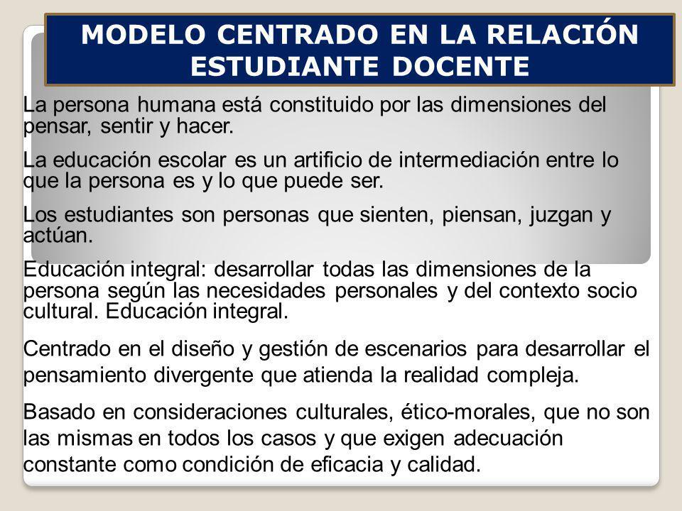 MODELO CENTRADO EN LA RELACIÓN ESTUDIANTE DOCENTE
