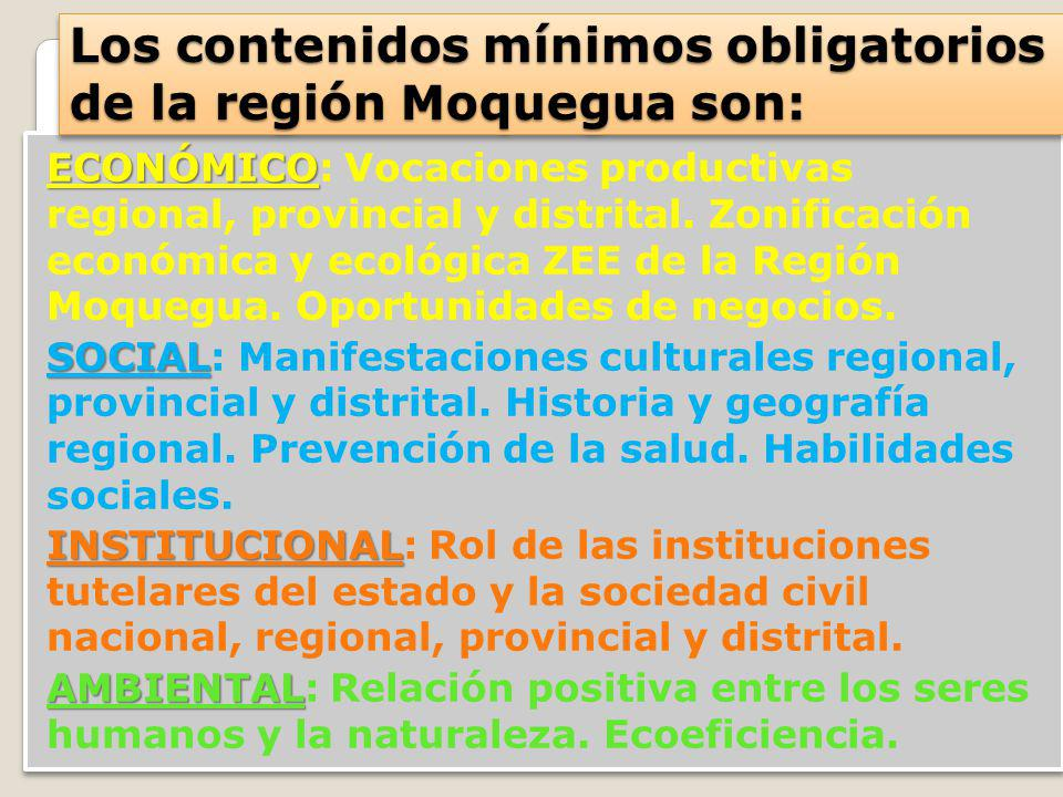 Los contenidos mínimos obligatorios de la región Moquegua son: