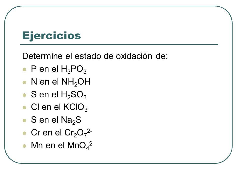 Ejercicios Determine el estado de oxidación de: P en el H3PO3