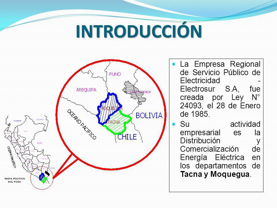 INTRODUCCIÓN La Empresa Regional de Servicio Público de Electricidad - Electrosur S.A, fue creada por Ley N° 24093, el 28 de Enero de 1985.