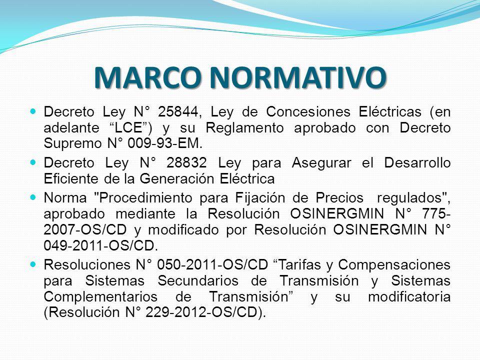 MARCO NORMATIVO Decreto Ley N° 25844, Ley de Concesiones Eléctricas (en adelante LCE ) y su Reglamento aprobado con Decreto Supremo N° 009-93-EM.