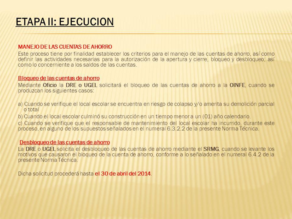 ETAPA II: EJECUCION MANEJO DE LAS CUENTAS DE AHORRO