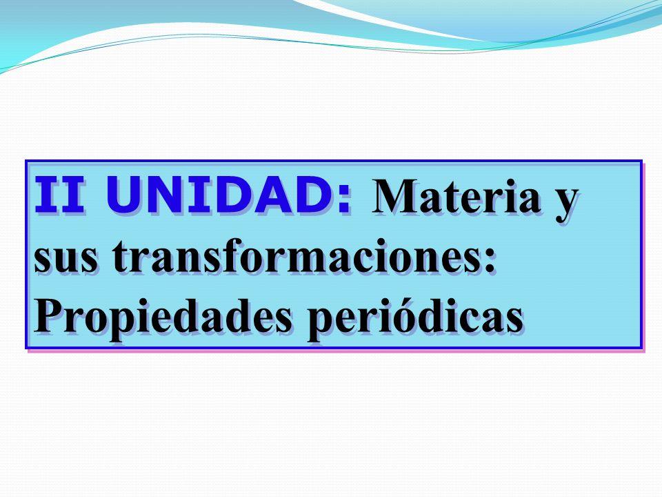 II UNIDAD: Materia y sus transformaciones: