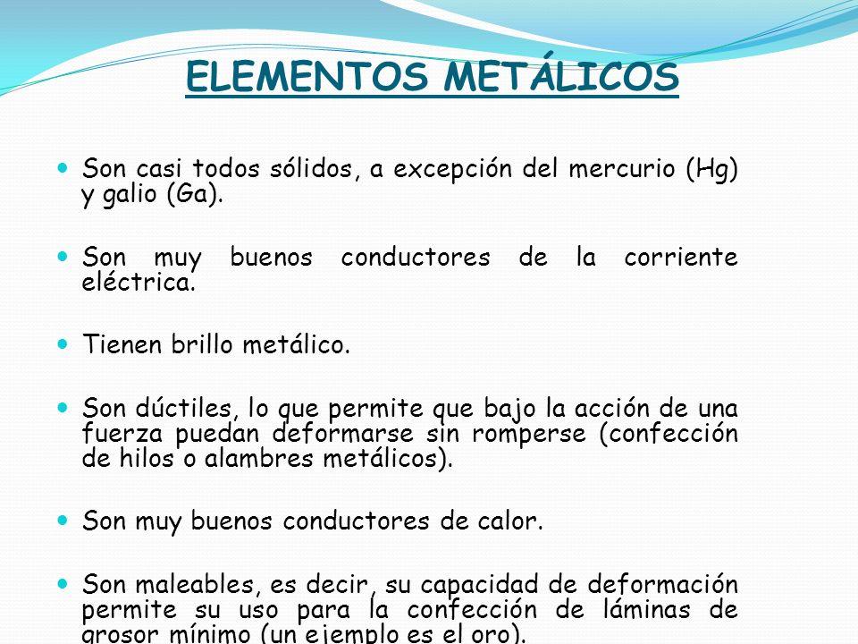 ELEMENTOS METÁLICOS Son casi todos sólidos, a excepción del mercurio (Hg) y galio (Ga). Son muy buenos conductores de la corriente eléctrica.