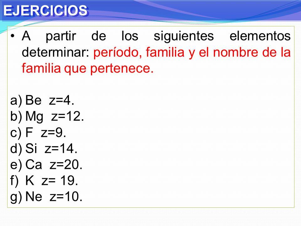 EJERCICIOS A partir de los siguientes elementos determinar: período, familia y el nombre de la familia que pertenece.