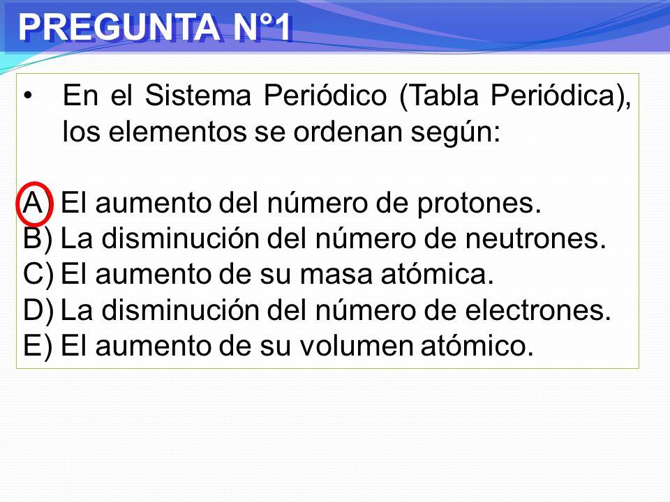 PREGUNTA N°1 En el Sistema Periódico (Tabla Periódica), los elementos se ordenan según: El aumento del número de protones.