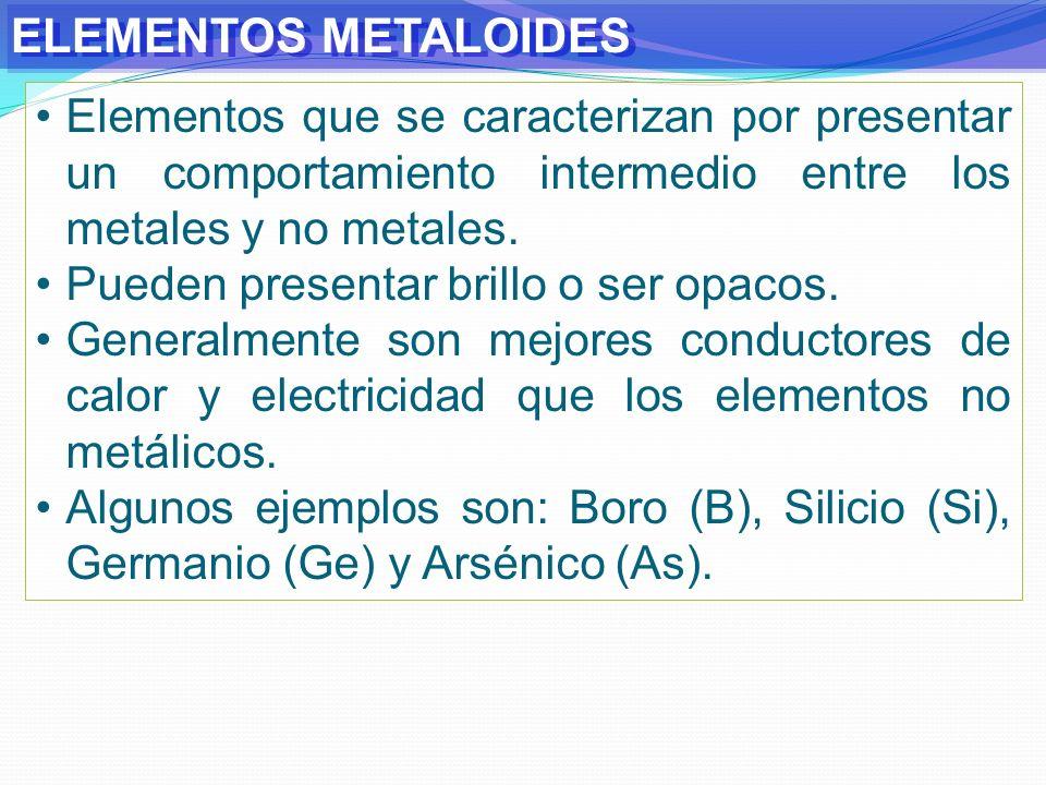 ELEMENTOS METALOIDESElementos que se caracterizan por presentar un comportamiento intermedio entre los metales y no metales.