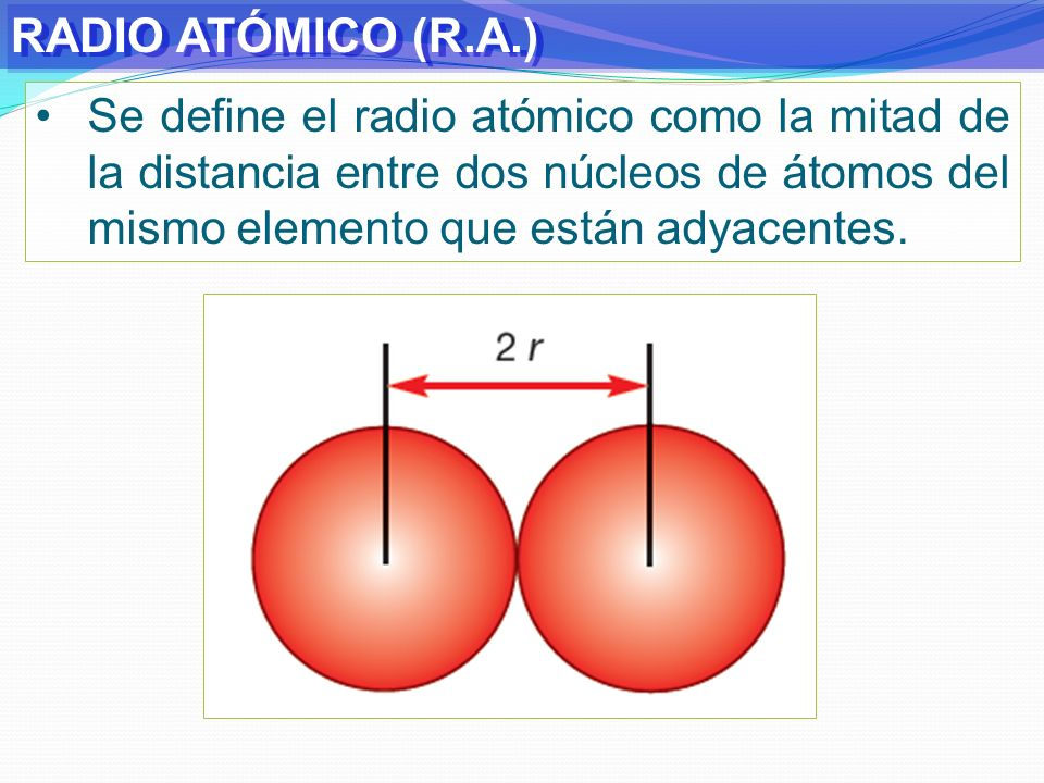 RADIO ATÓMICO (R.A.)Se define el radio atómico como la mitad de la distancia entre dos núcleos de átomos del mismo elemento que están adyacentes.