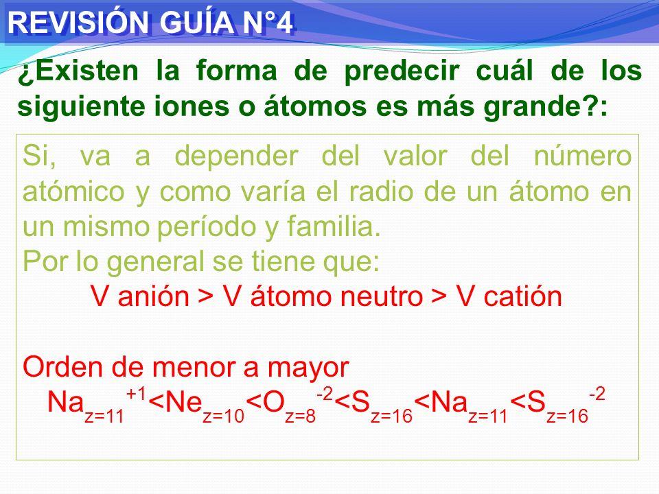 REVISIÓN GUÍA N°4 ¿Existen la forma de predecir cuál de los siguiente iones o átomos es más grande :