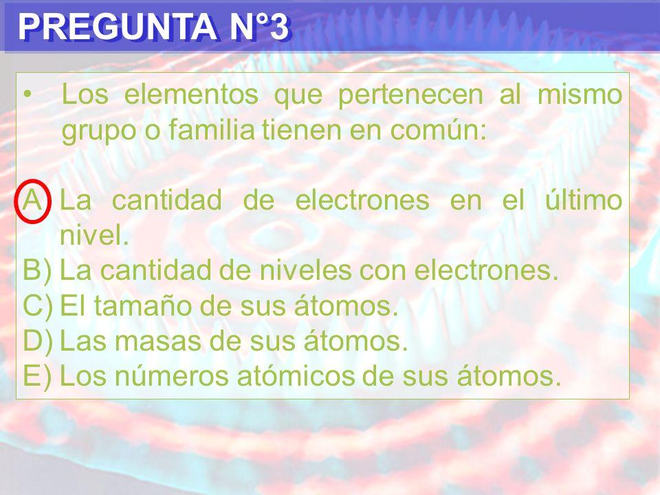 PREGUNTA N°3Los elementos que pertenecen al mismo grupo o familia tienen en común: La cantidad de electrones en el último nivel.