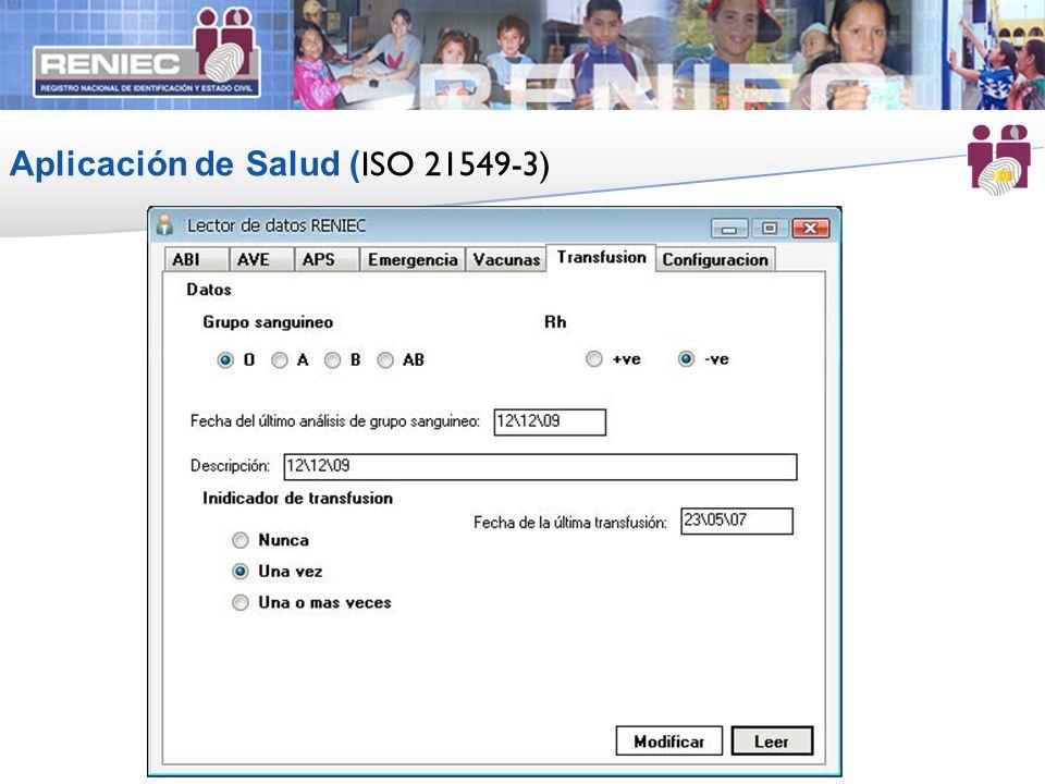 Aplicación de Salud (ISO 21549-3)
