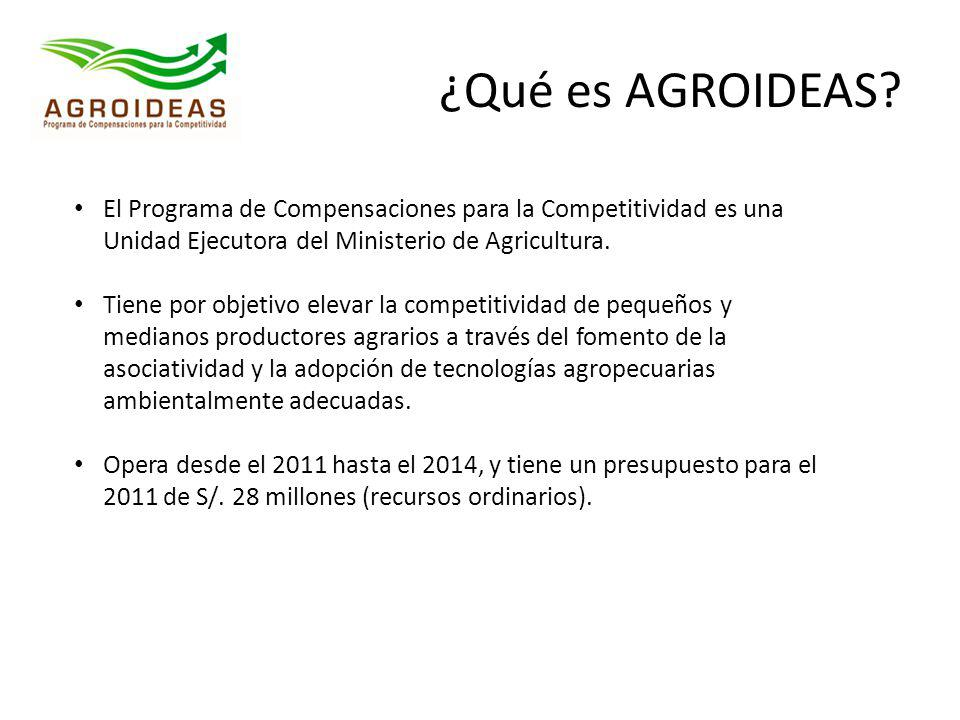 ¿Qué es AGROIDEAS El Programa de Compensaciones para la Competitividad es una Unidad Ejecutora del Ministerio de Agricultura.