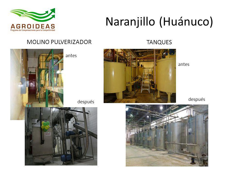 Naranjillo (Huánuco) MOLINO PULVERIZADOR TANQUES antes antes después
