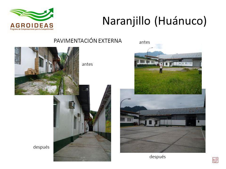 Naranjillo (Huánuco) PAVIMENTACIÓN EXTERNA antes antes después después