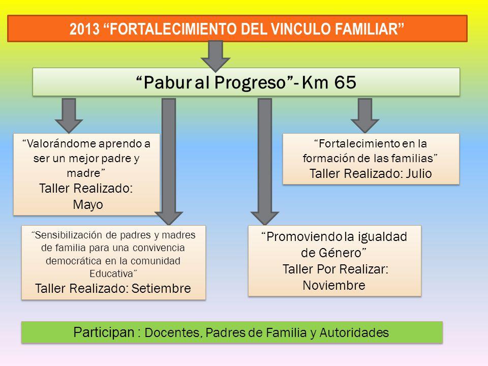 2013 FORTALECIMIENTO DEL VINCULO FAMILIAR Pabur al Progreso - Km 65