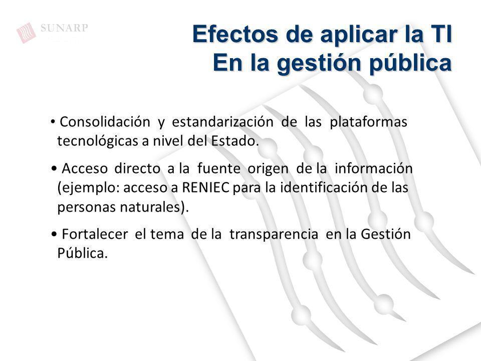 Efectos de aplicar la TI En la gestión pública