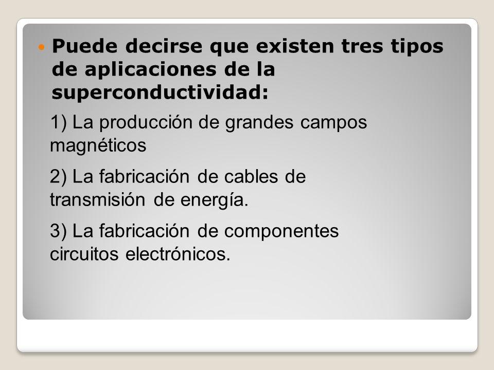 Puede decirse que existen tres tipos de aplicaciones de la superconductividad: