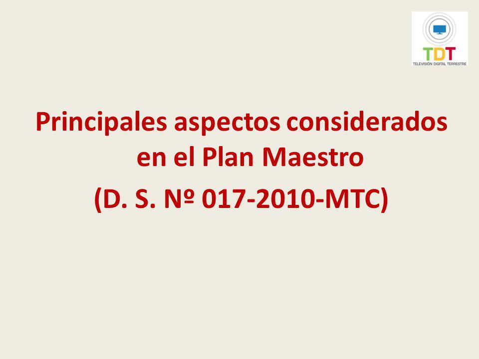 Principales aspectos considerados en el Plan Maestro