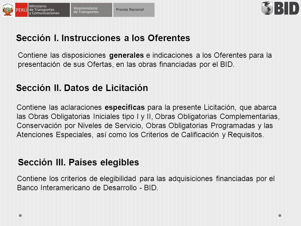 Sección I. Instrucciones a los Oferentes