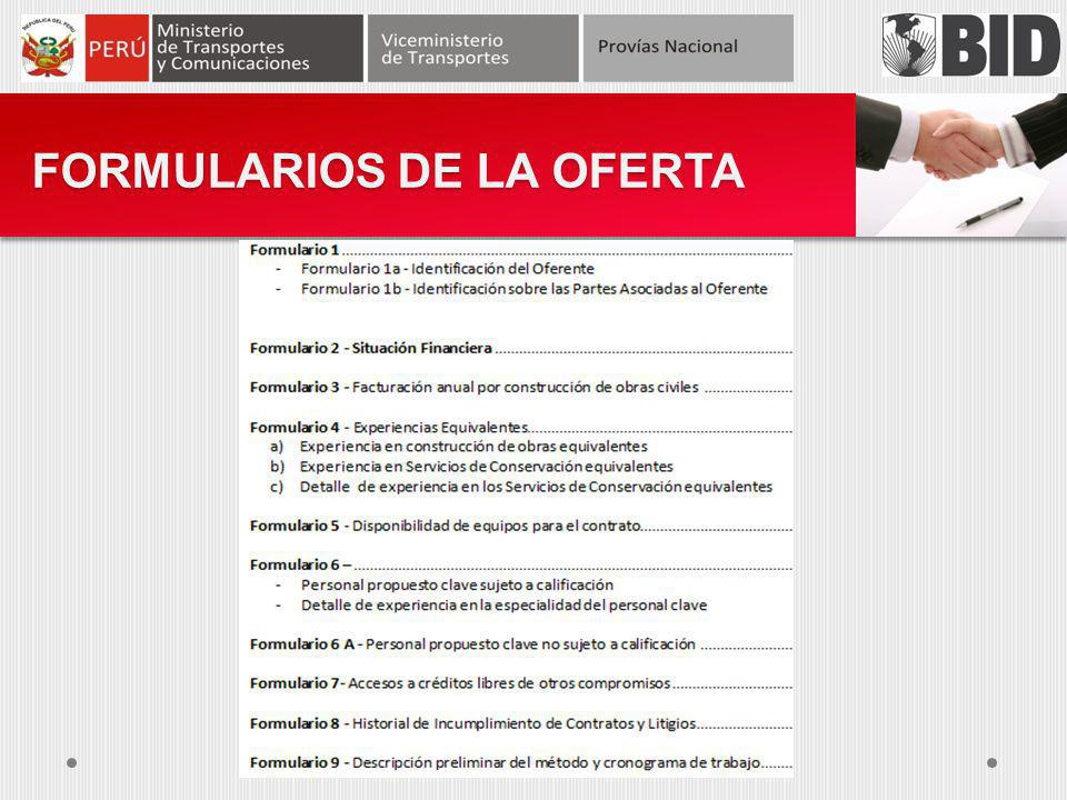 FORMULARIOS DE LA OFERTA