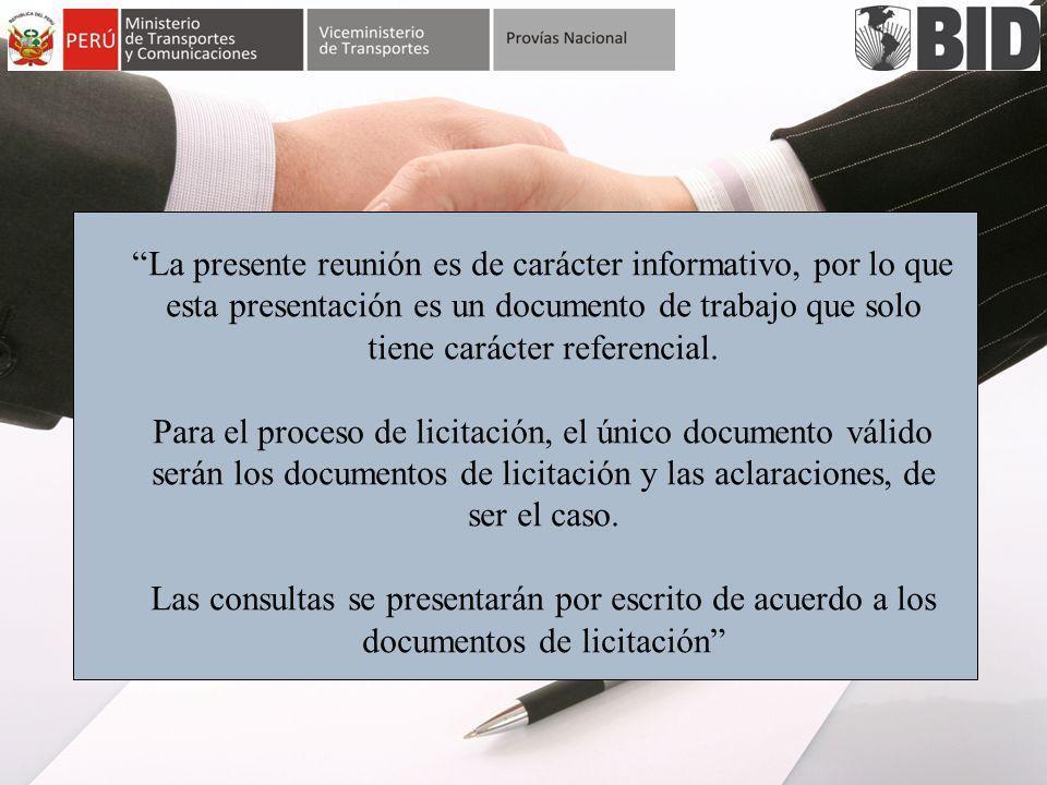 La presente reunión es de carácter informativo, por lo que esta presentación es un documento de trabajo que solo tiene carácter referencial.