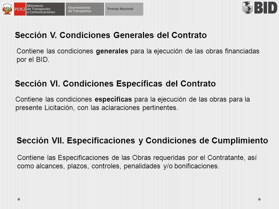 Sección V. Condiciones Generales del Contrato