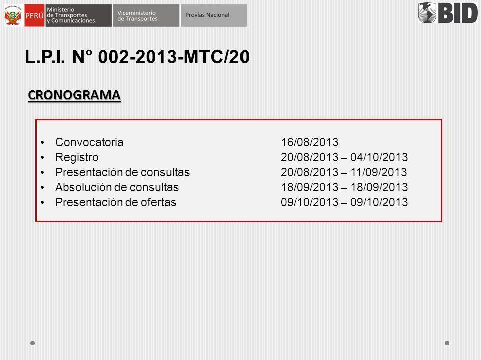 L.p.i. n° 002-2013-mtc/20 CRONOGRAMA Convocatoria 16/08/2013