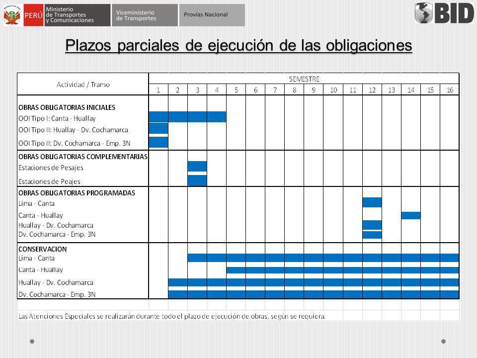 Plazos parciales de ejecución de las obligaciones