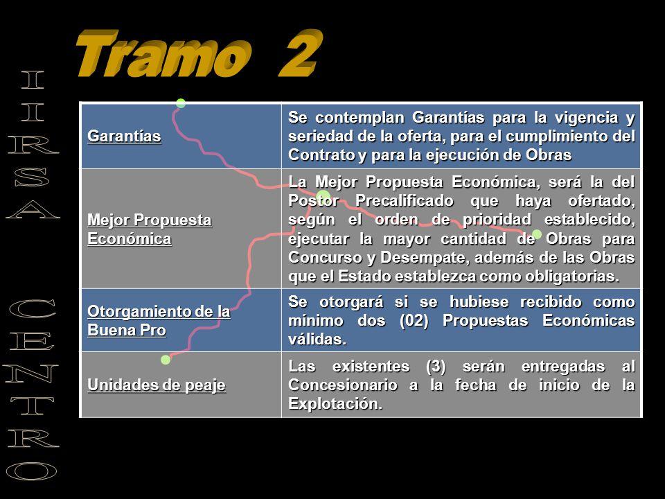 Tramo 2 Garantías. Se contemplan Garantías para la vigencia y seriedad de la oferta, para el cumplimiento del Contrato y para la ejecución de Obras.