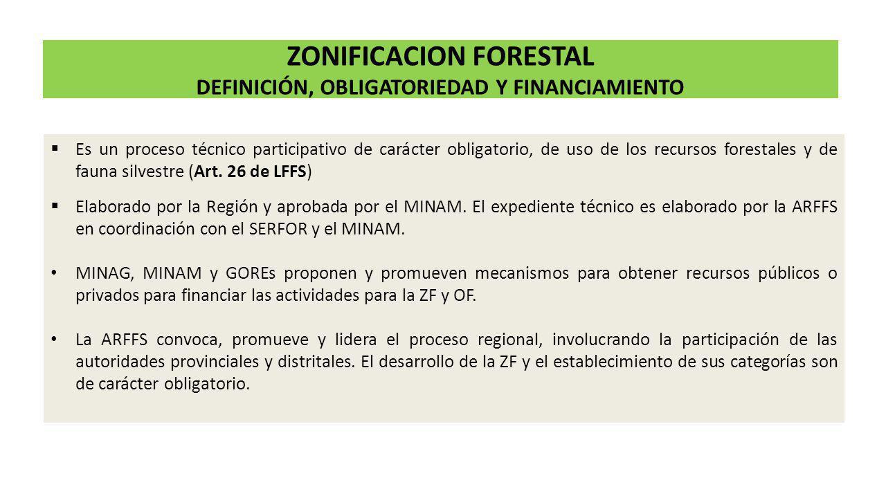 ZONIFICACION FORESTAL DEFINICIÓN, OBLIGATORIEDAD Y FINANCIAMIENTO