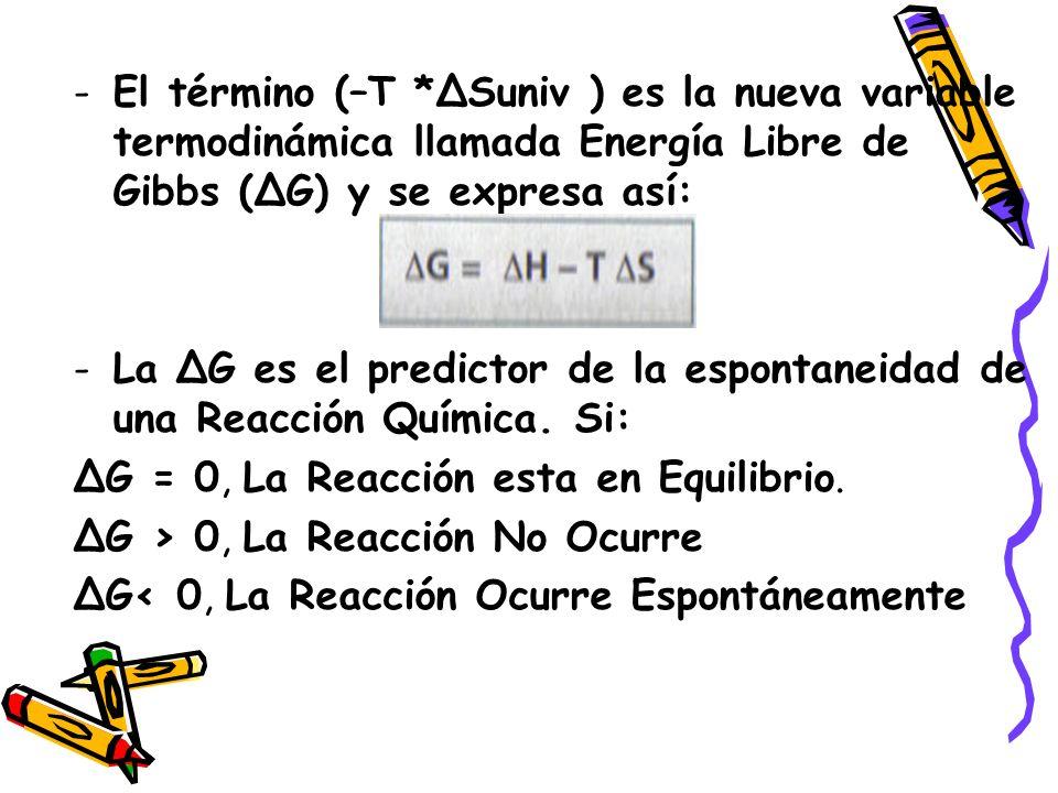 El término (–T *ΔSuniv ) es la nueva variable termodinámica llamada Energía Libre de Gibbs (ΔG) y se expresa así:
