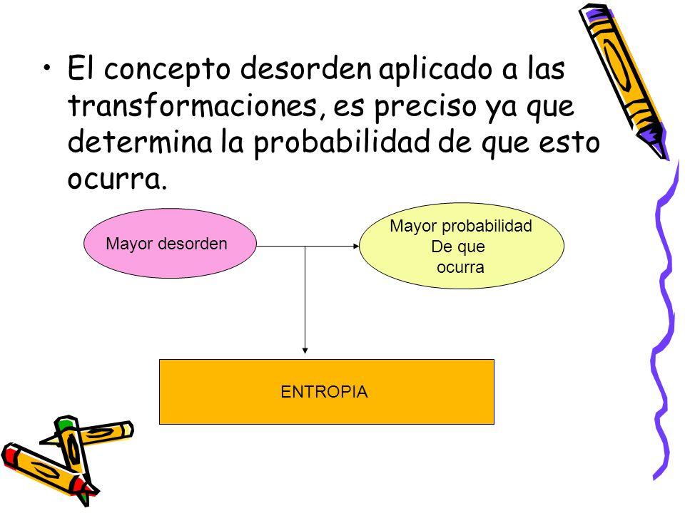 El concepto desorden aplicado a las transformaciones, es preciso ya que determina la probabilidad de que esto ocurra.