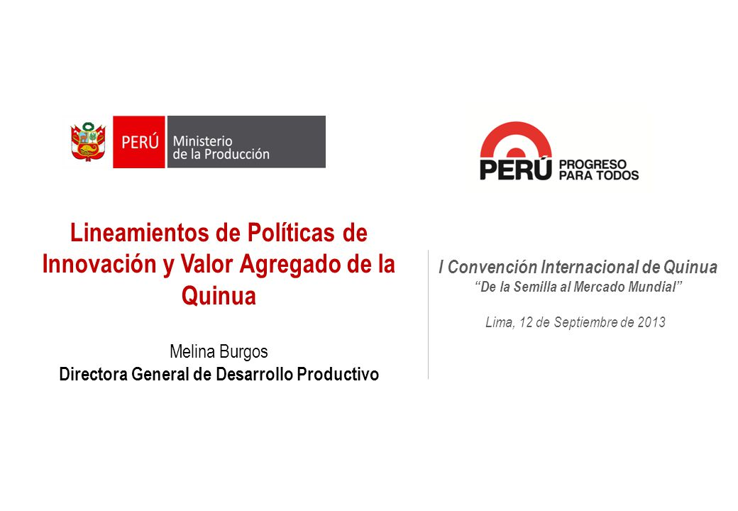 Lineamientos de Políticas de Innovación y Valor Agregado de la Quinua