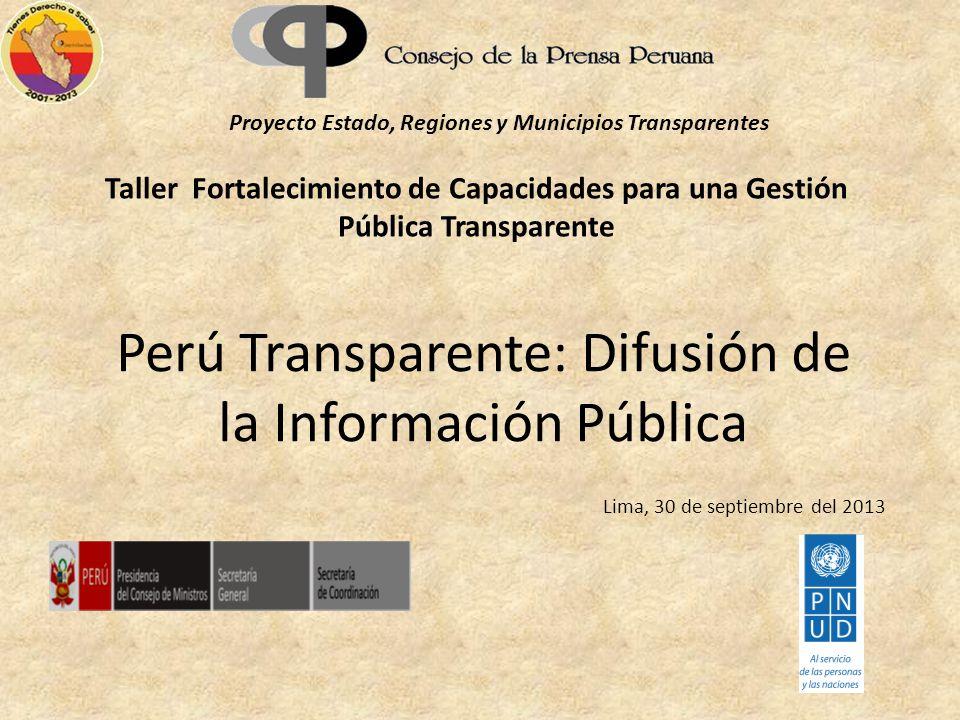 Perú Transparente: Difusión de la Información Pública