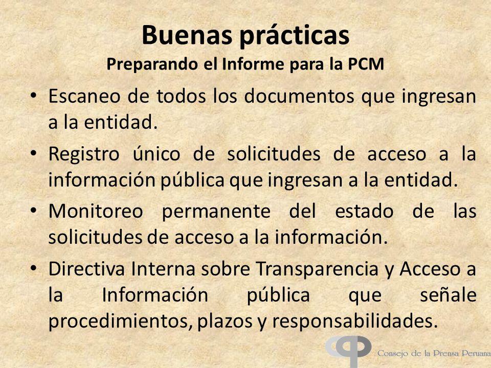 Buenas prácticas Preparando el Informe para la PCM