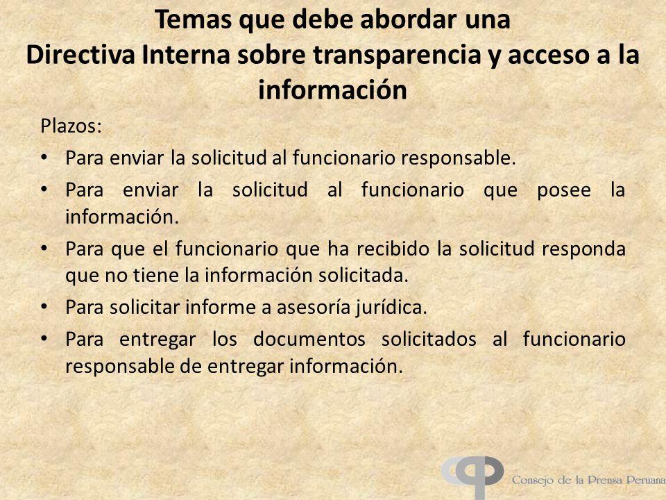 Temas que debe abordar una Directiva Interna sobre transparencia y acceso a la información