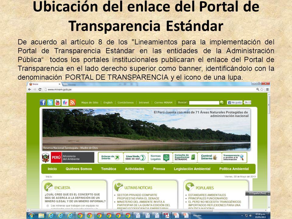 Ubicación del enlace del Portal de Transparencia Estándar