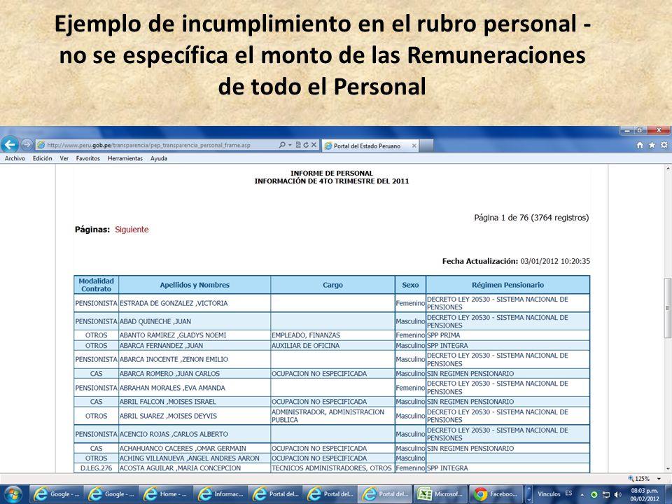 Ejemplo de incumplimiento en el rubro personal - no se específica el monto de las Remuneraciones de todo el Personal