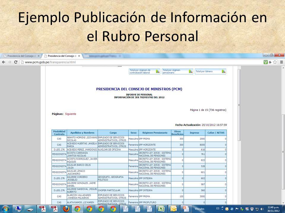 Ejemplo Publicación de Información en el Rubro Personal
