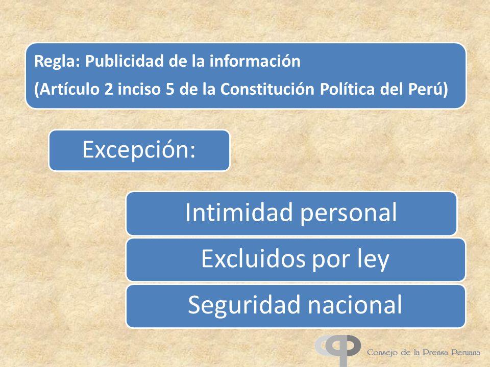 Intimidad personal Excluidos por ley Seguridad nacional Excepción: